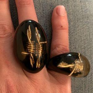 Oval 24K Gold Knots Inside Lucite(?) Designer Ring